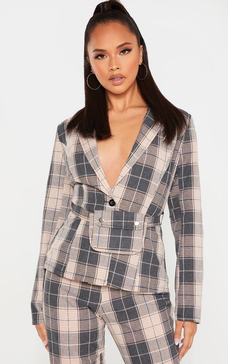 Grey Check Print Woven Belted Blazer 1