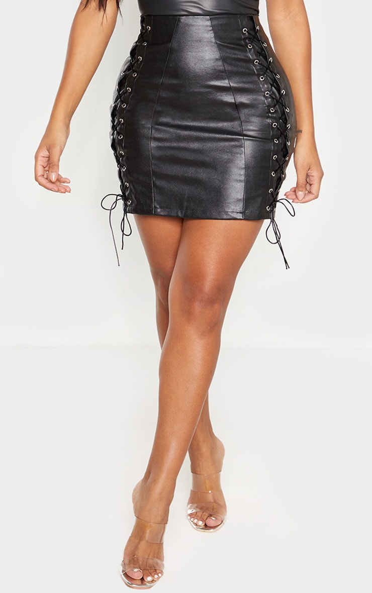 Shape Black PU Lace Up Bodycon Skirt 2