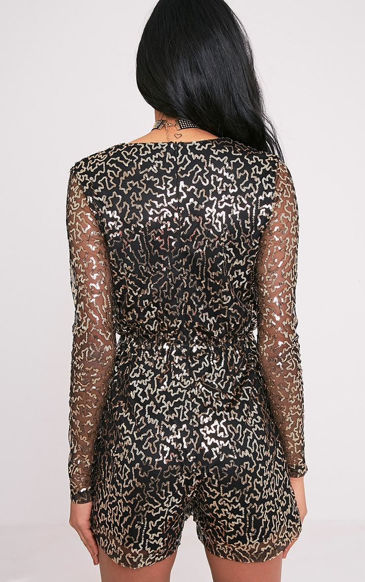 Keaely Gold Zig Zag Sequin Plunge Playsuit 2