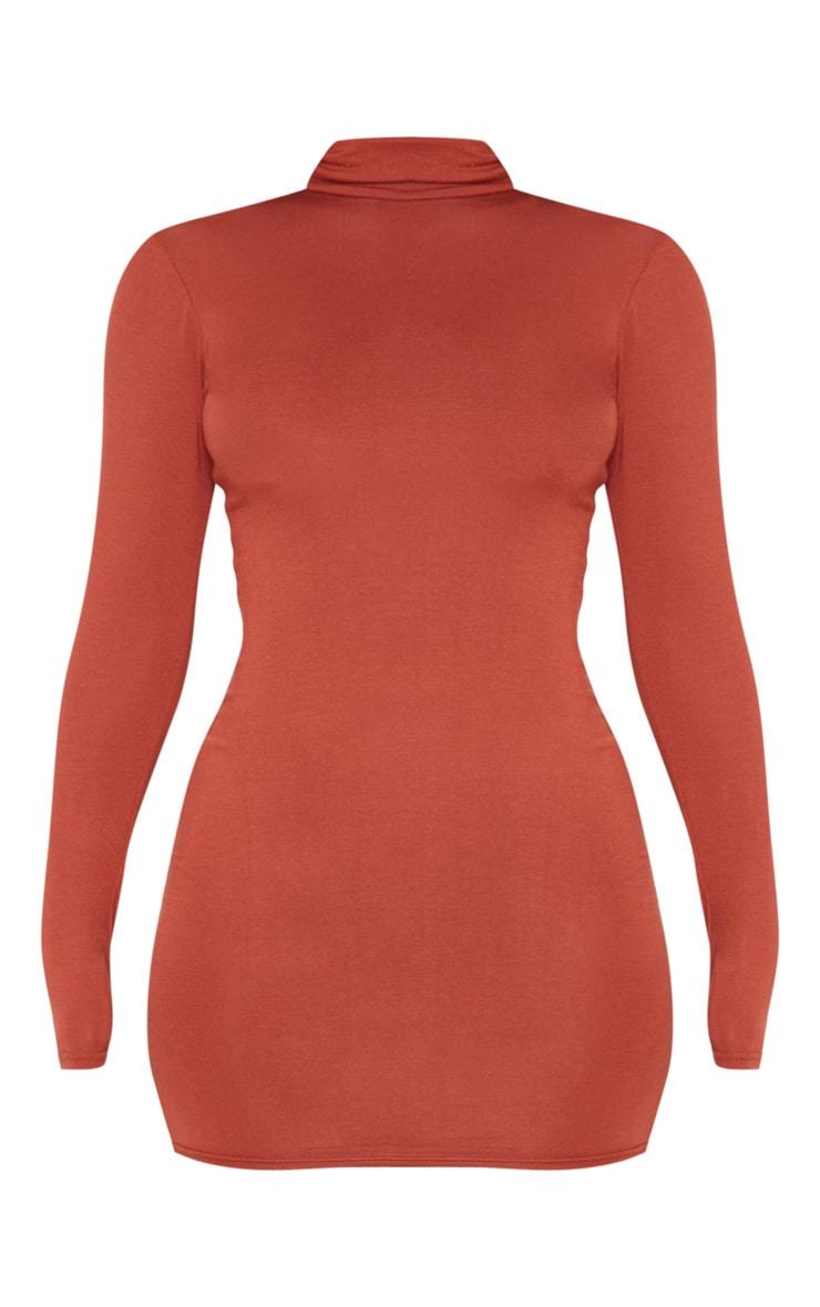 Rust Jersey High Neck Bodycon Dress 3