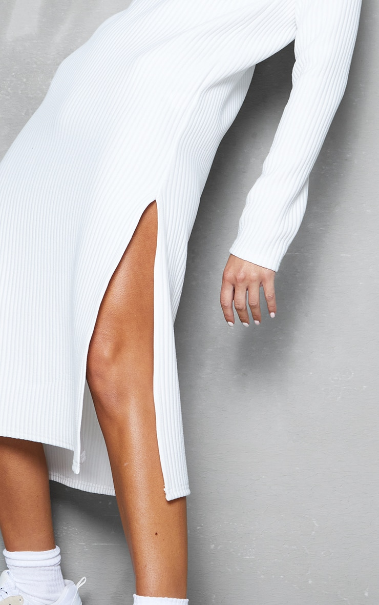White Thick Rib High Neck Long Sleeve Midi Dress 4