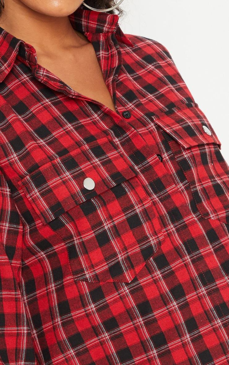 Red Oversized Check Shirt Dress 5