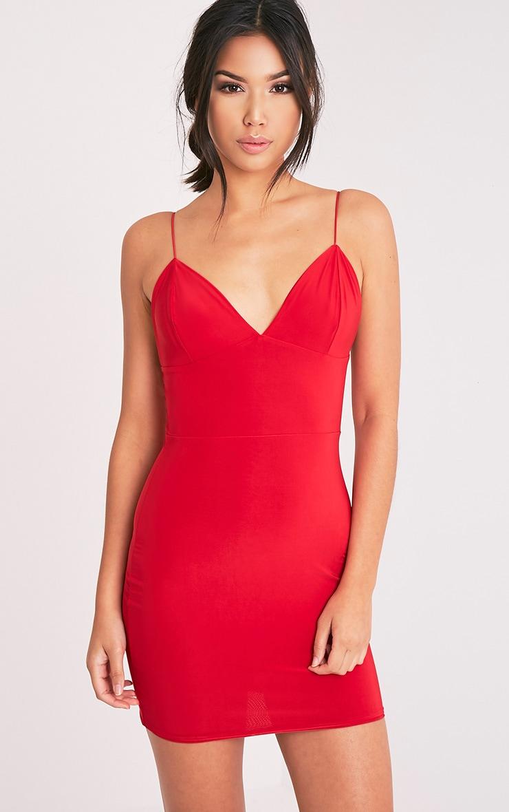 Ayishah robe moulante rouge près du corps à décolleté plongeant et bretelles 5