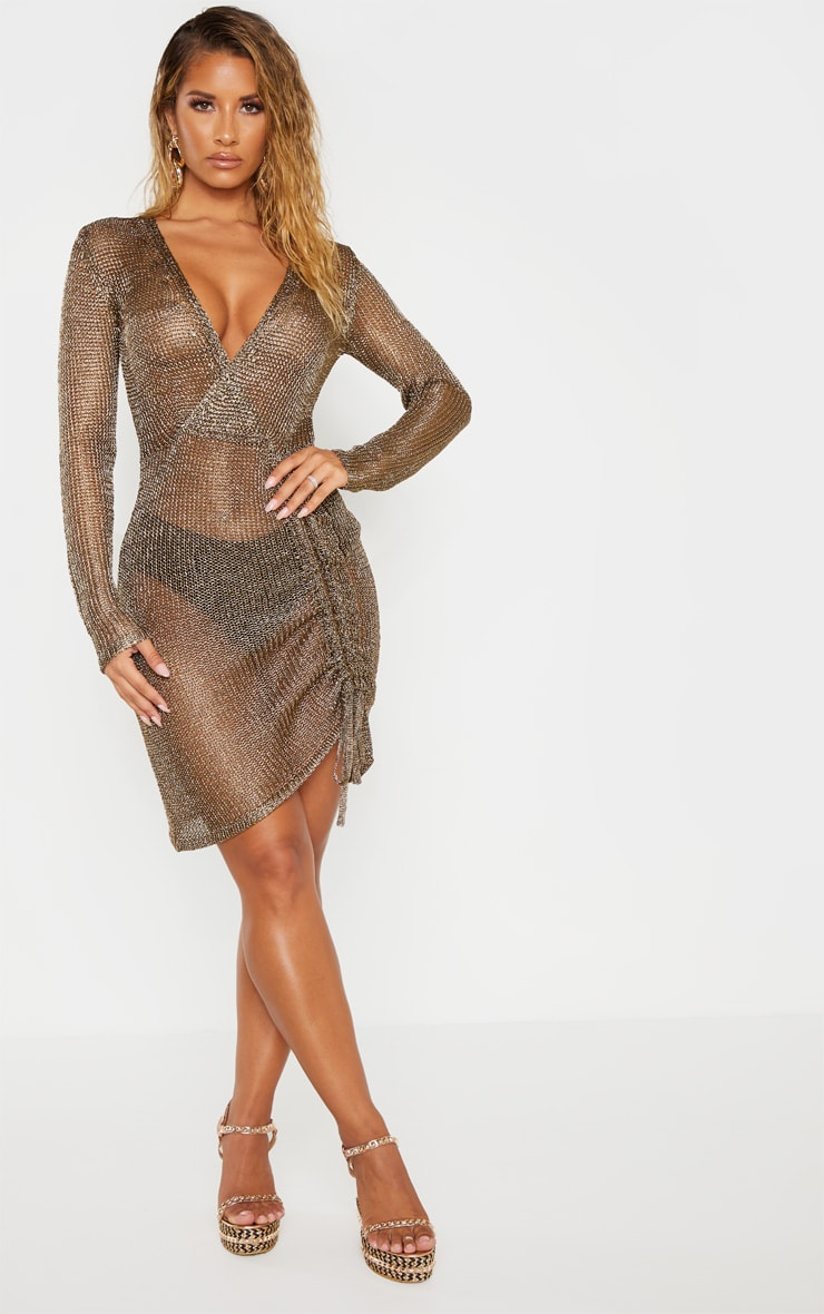 Bronze Metallic Knitted Wrap Front Dress 4