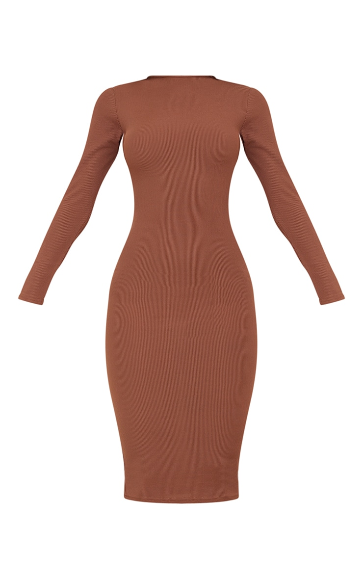 Chocolate Basic Ribbed Long Sleeve Midi Dress 5