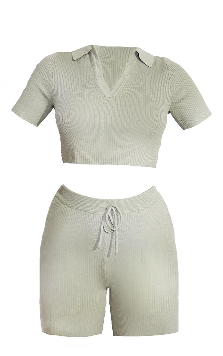 Sage Green Premium Ribbed Knitted Collar Detail Short Set 5