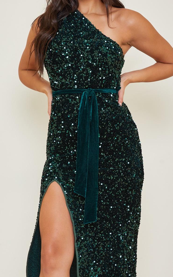 Tall Emerald Green Premium Velvet Sequin One Shoulder Tie Waist Midaxi Dress 4