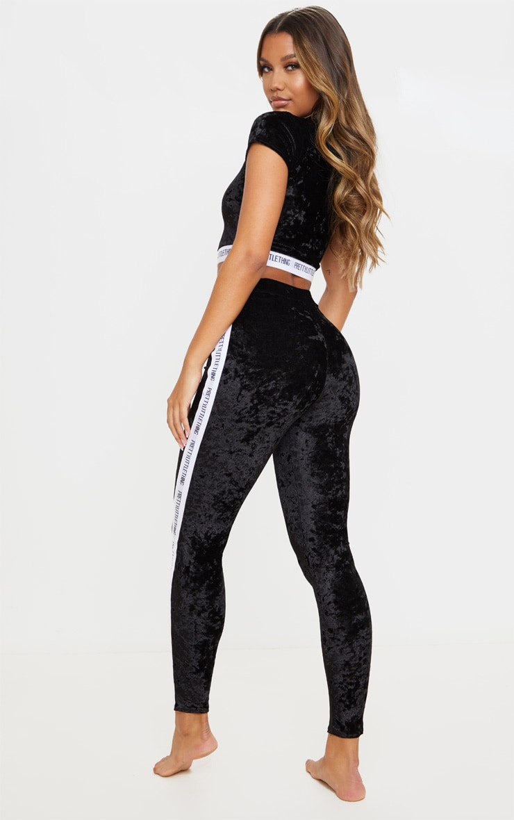 PRETTYLITTLETHING Black Velvet Legging Pj Set 2