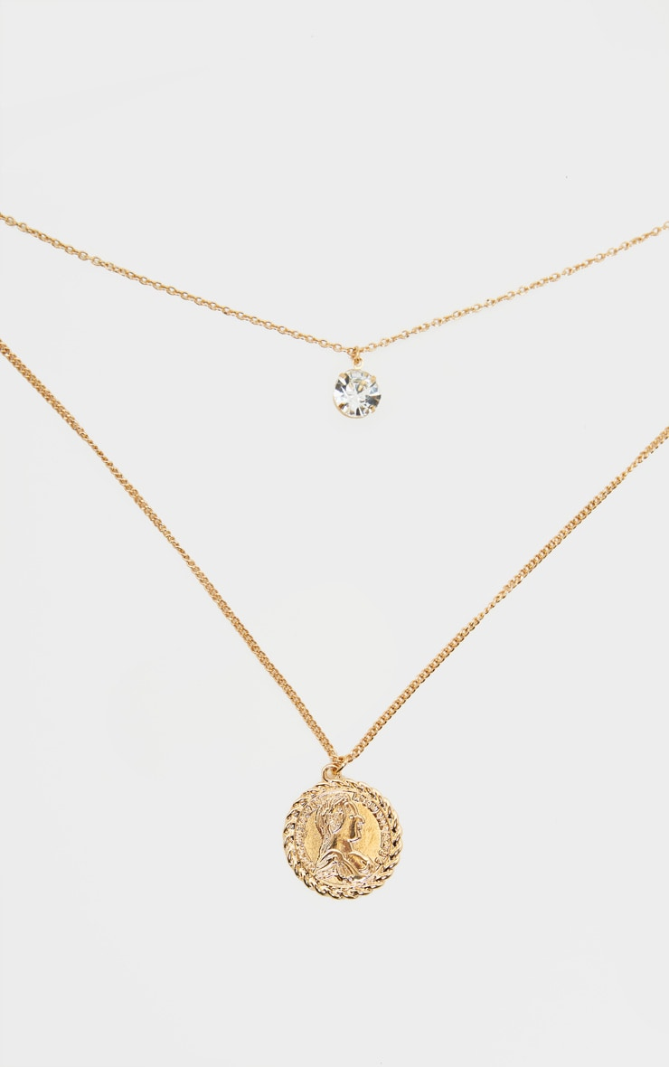 Gold Double Layer Crystal And Penny Pendant     3