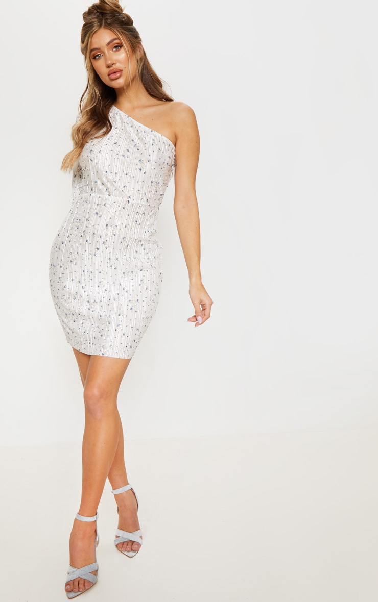 White Floral Print Plisse One Shoulder Bodycon Dress 4