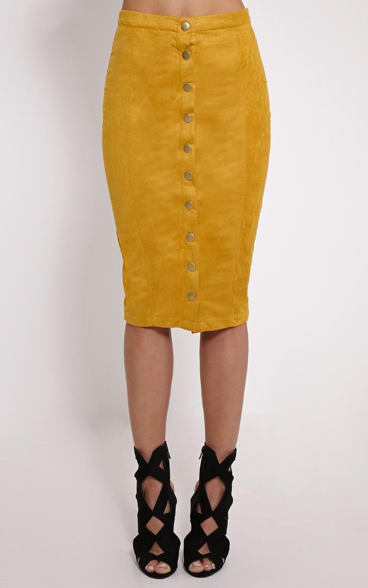 Meemee Mustard Button Front Suede Midi Skirt 2