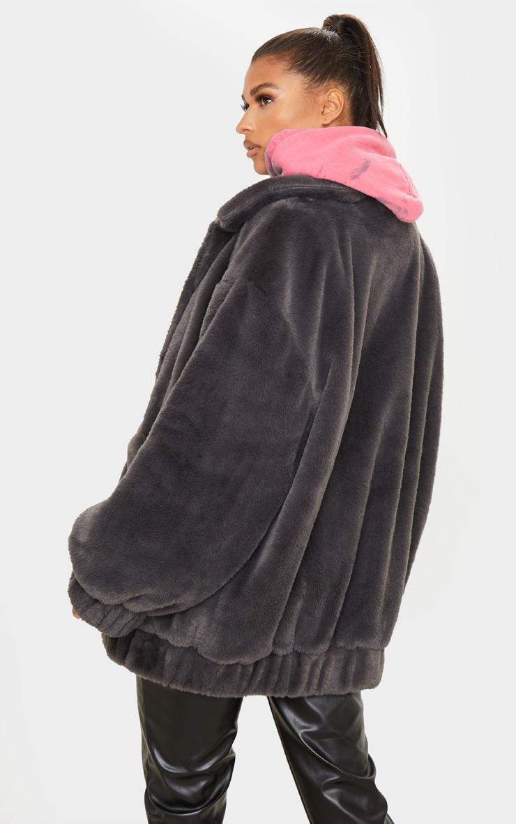 Grey Faux Fur Pocket Front Coat 2