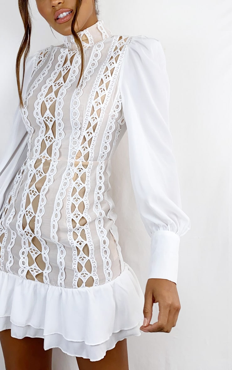 White Lace Trim High Neck Long Sleeve Bodycon Dress 4