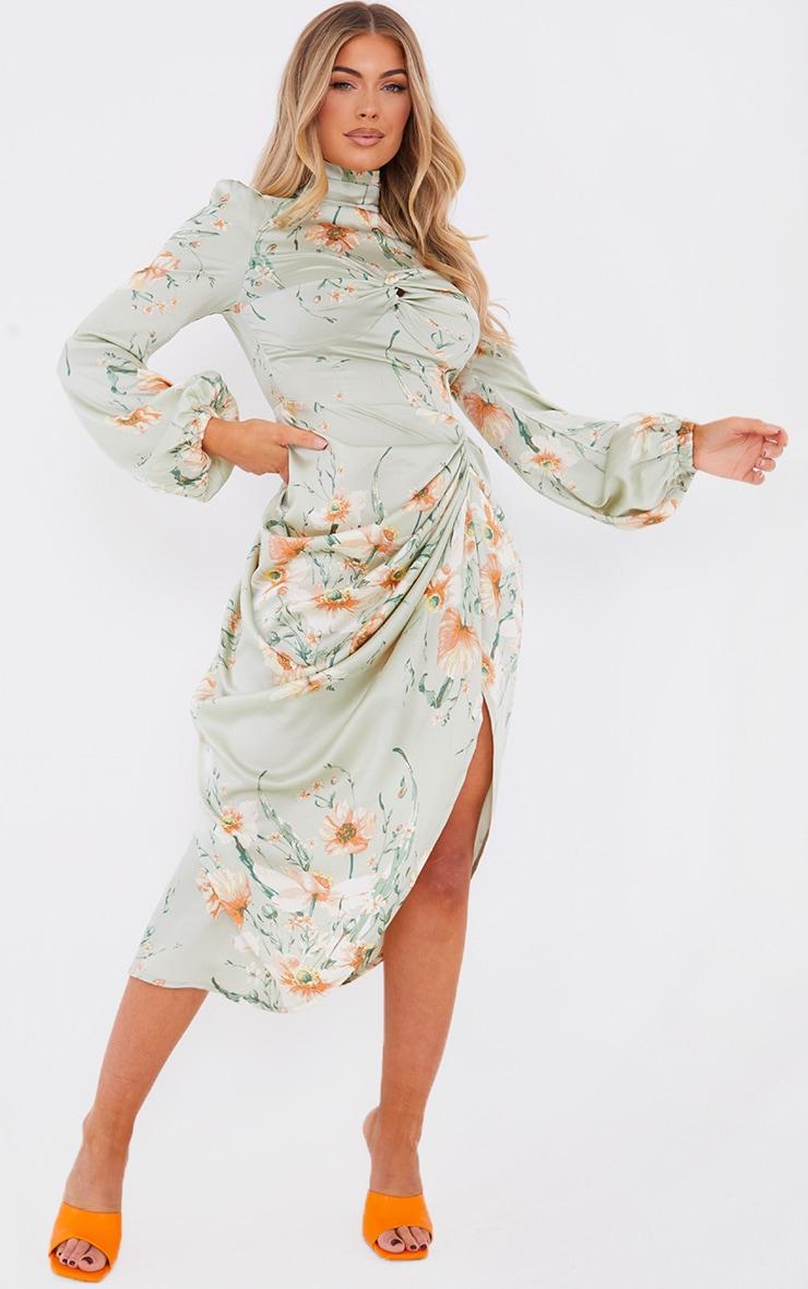 Sage Green Floral Twist Bust Draped Midi Dress 3