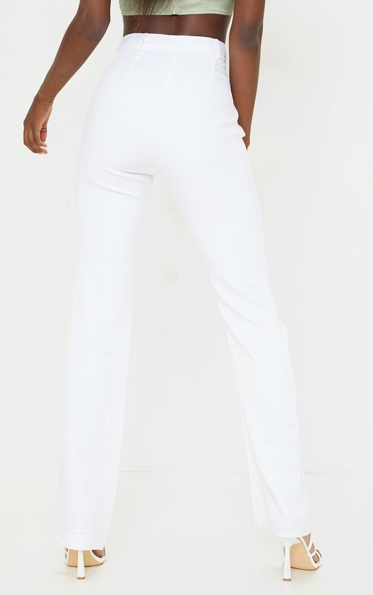 Tall White Cut Out Waistband Pants 3