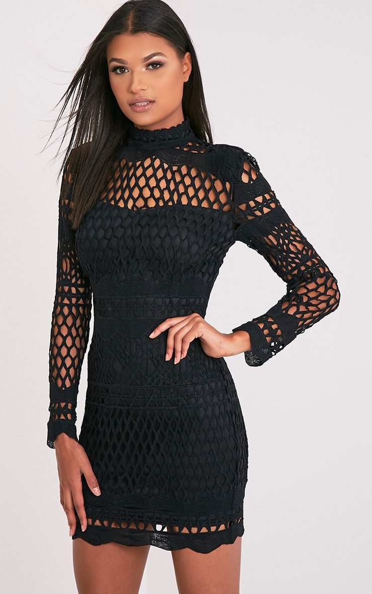 Lexi Black Crochet Lace Long Sleeve Bodycon Dress 4