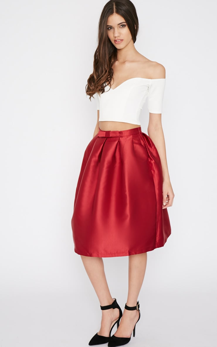 Maggy Red Satin A Line Midi Skirt  1
