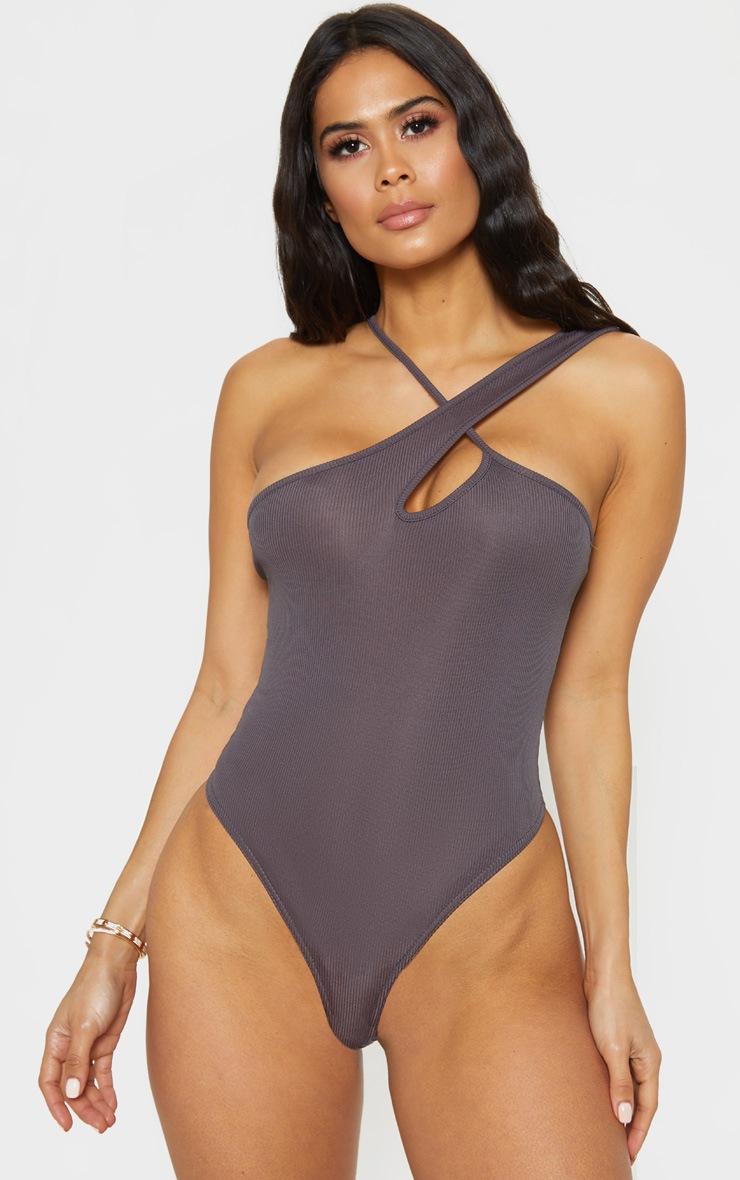Charcoal Keyhole Rib Bodysuit 2