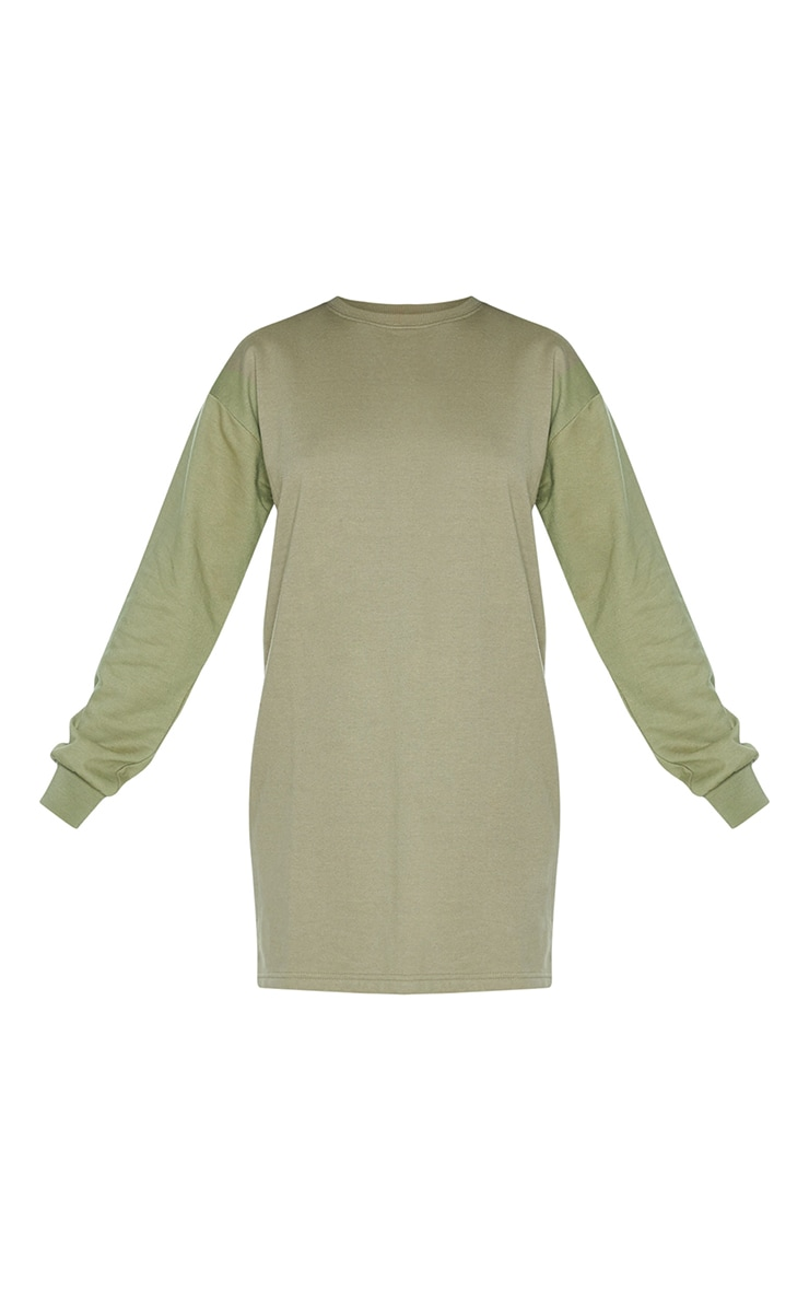 Khaki Basic Crew Neck Oversized Sweater Dress 5
