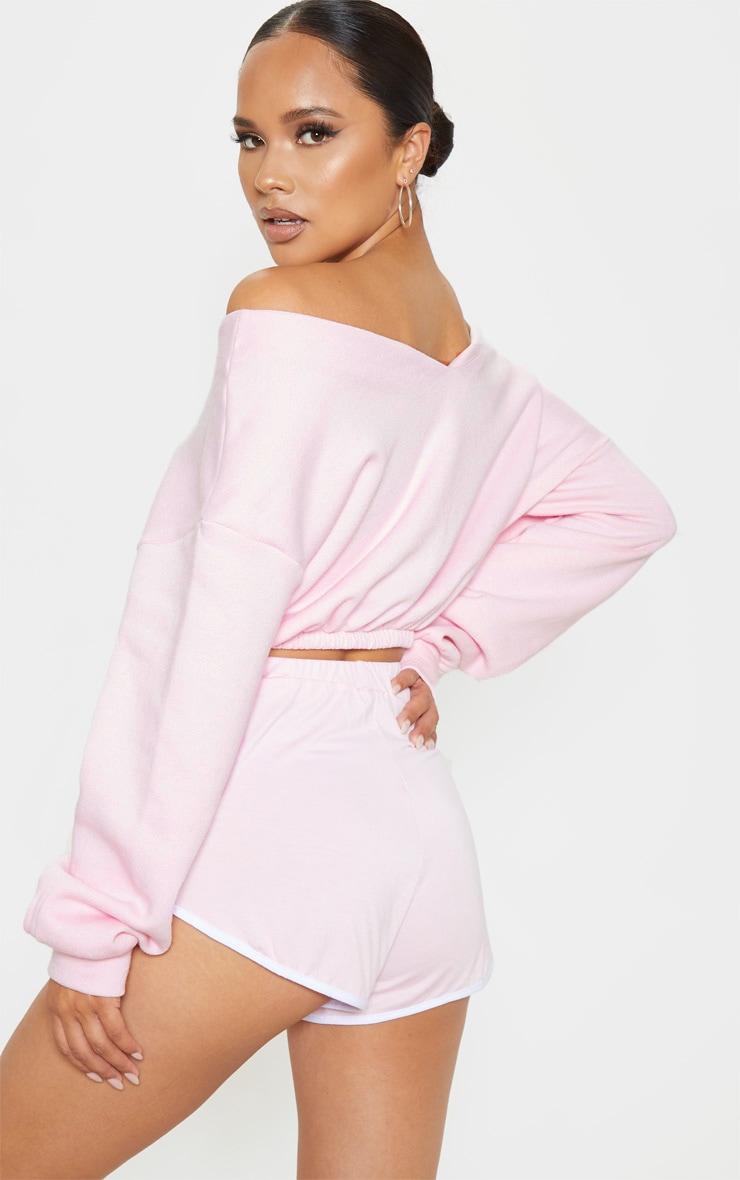 Baby Pink Crop Off Shoulder Sweater 2