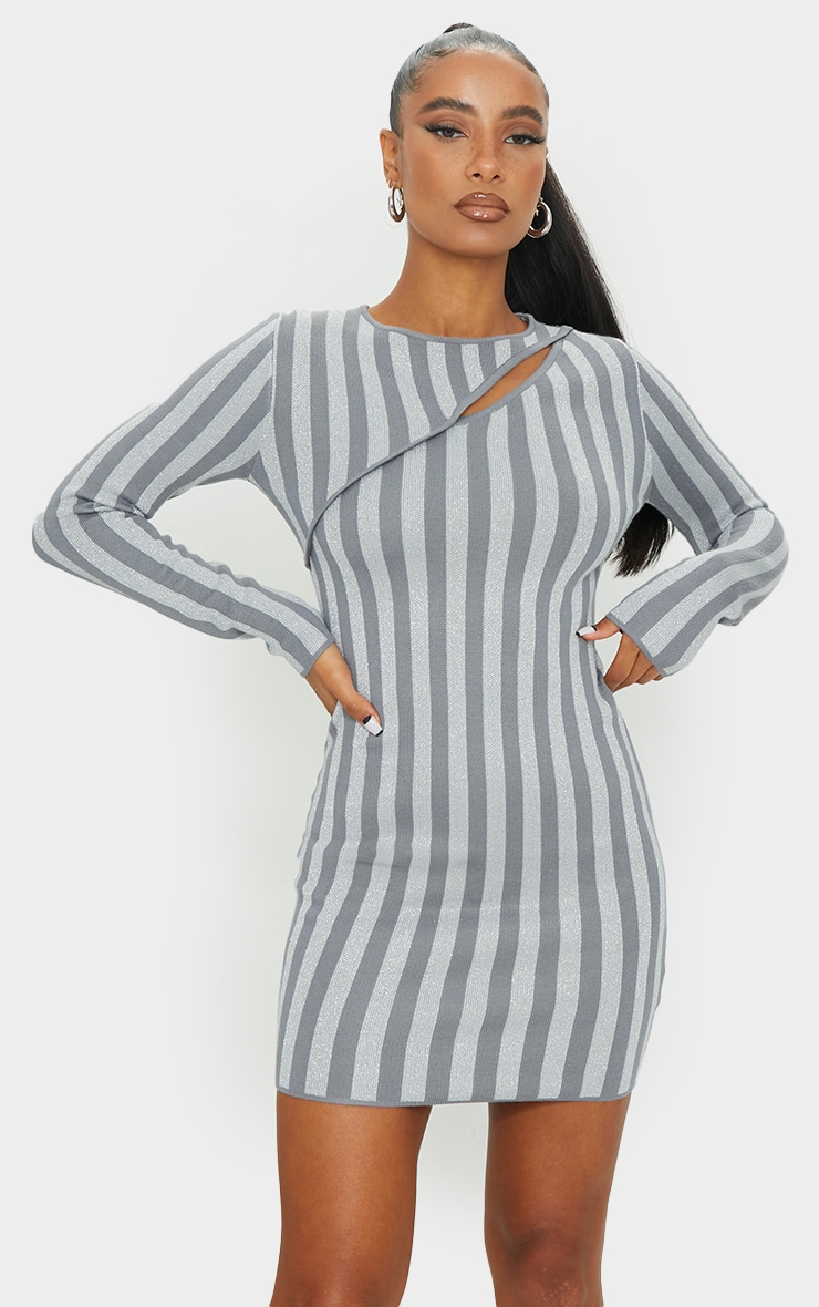 Grey Striped Knitted Bodycon Mini Dress 4