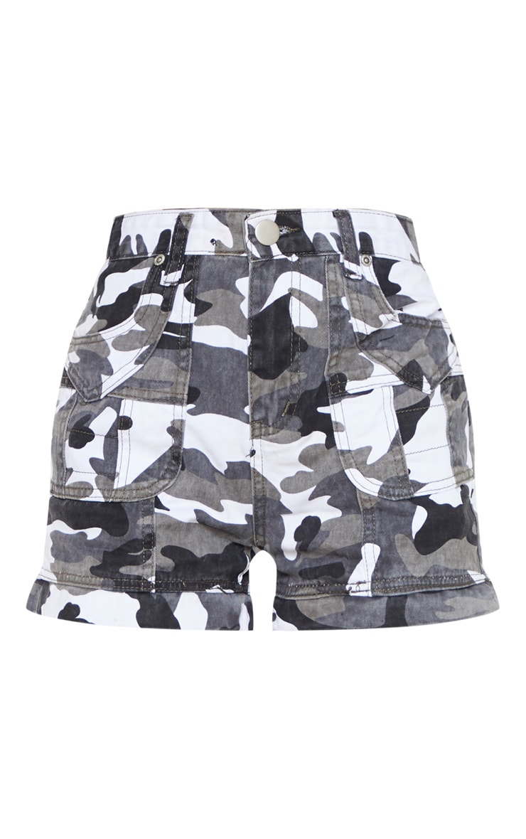 Grey Camo Utility Stitched Detail Denim Shorts 3
