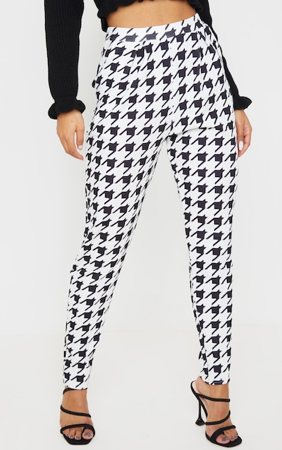 Black Dogtooth Pleated Cigarette Trousers