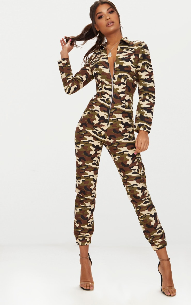 Camo Zip Through Utility Jumpsuit 1