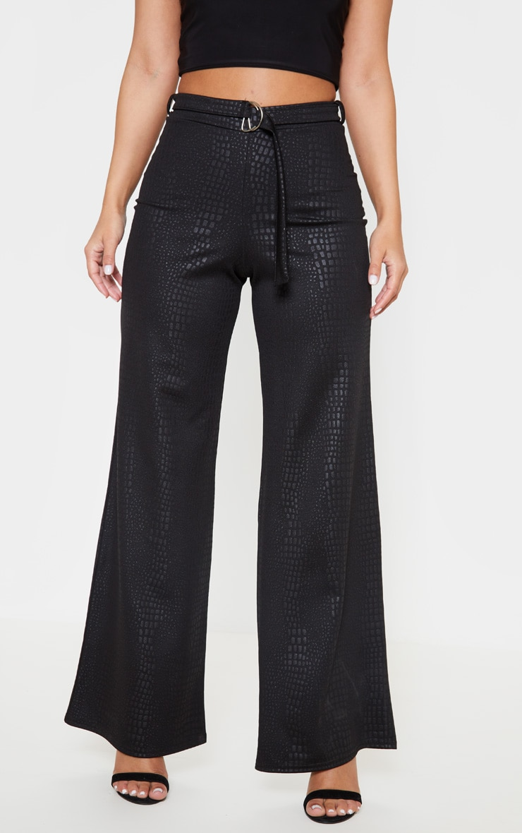 Petite Black Snake Effect Loop Belt Wide Trousers 2