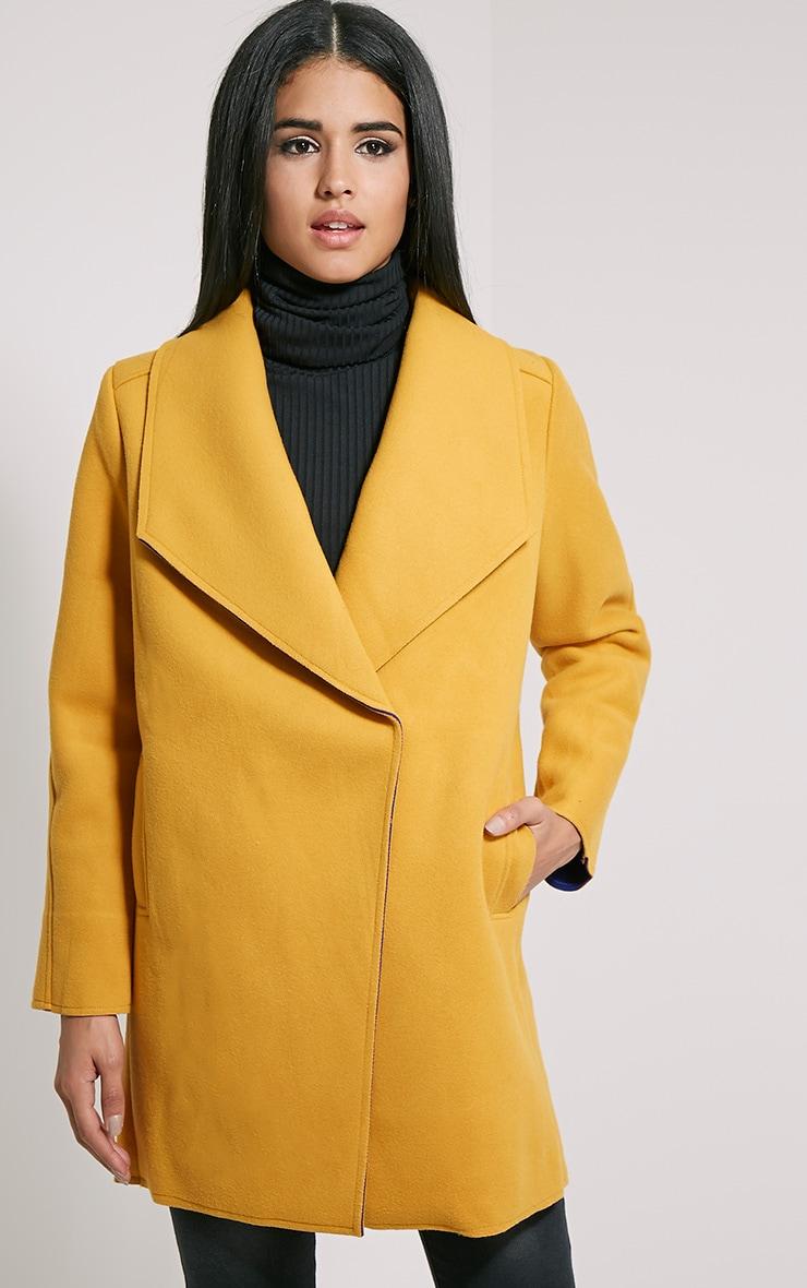 Saphari Mustard Contrast Oversized Coat 5