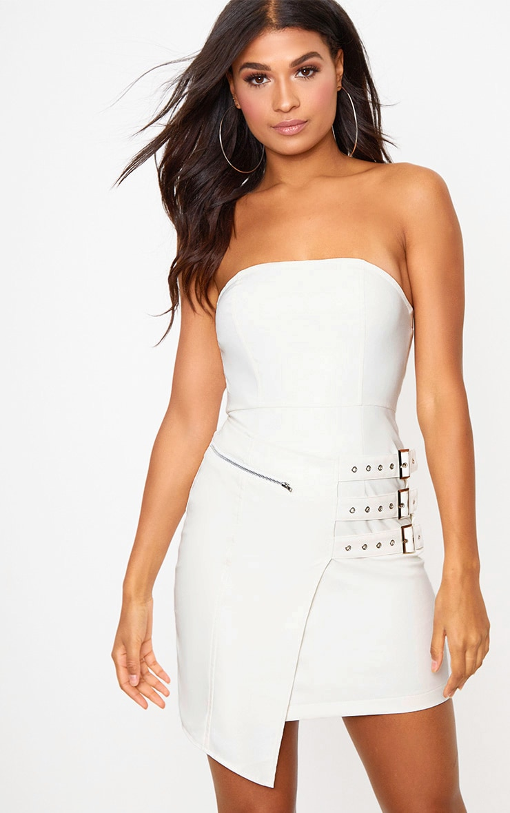 White Faux Leather Buckle Detail Bandeau Bodycon Dress 1