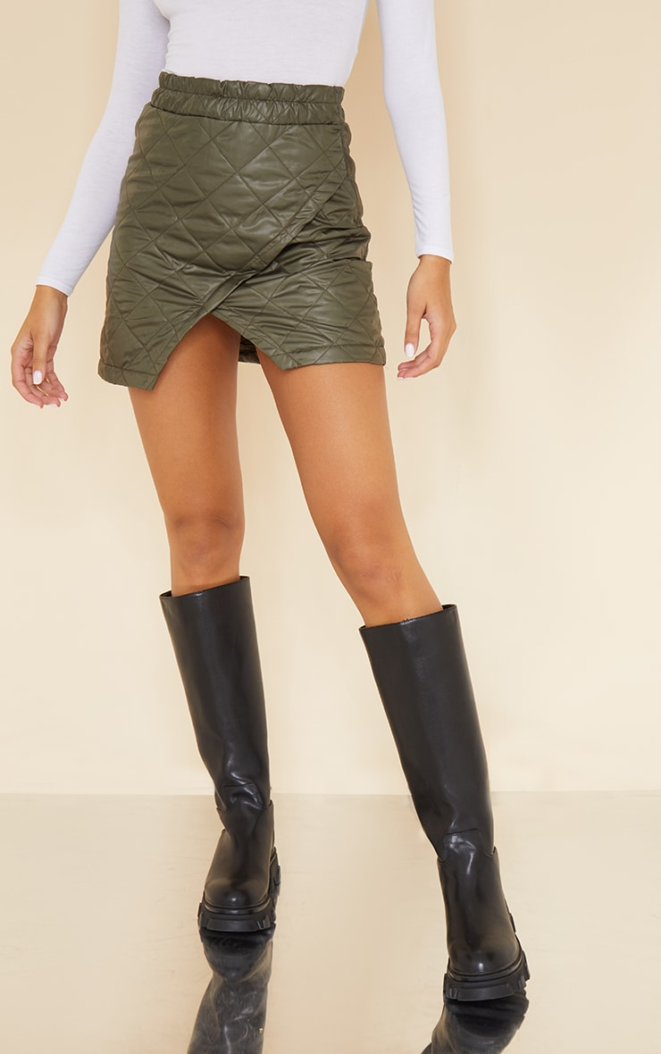 Khaki Quilted Wrap Front Mini Skirt 2