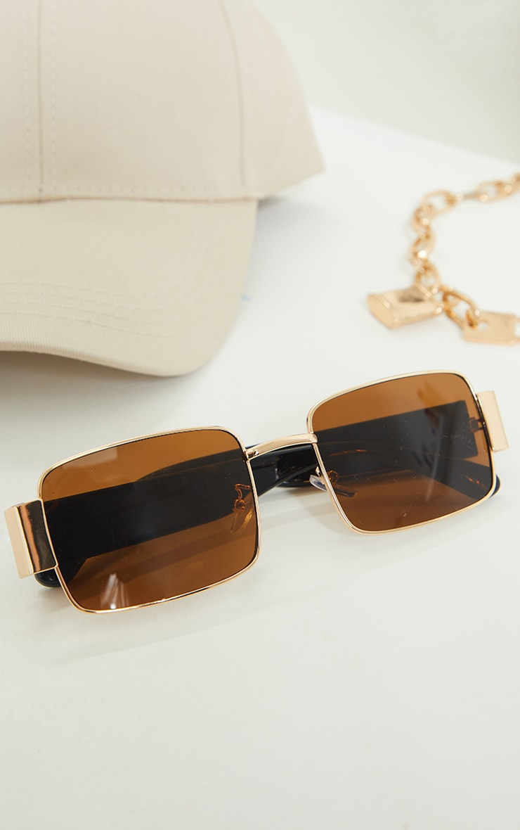 Brown with Gold Frame Small Square Vintage Effect Sunglasses 2