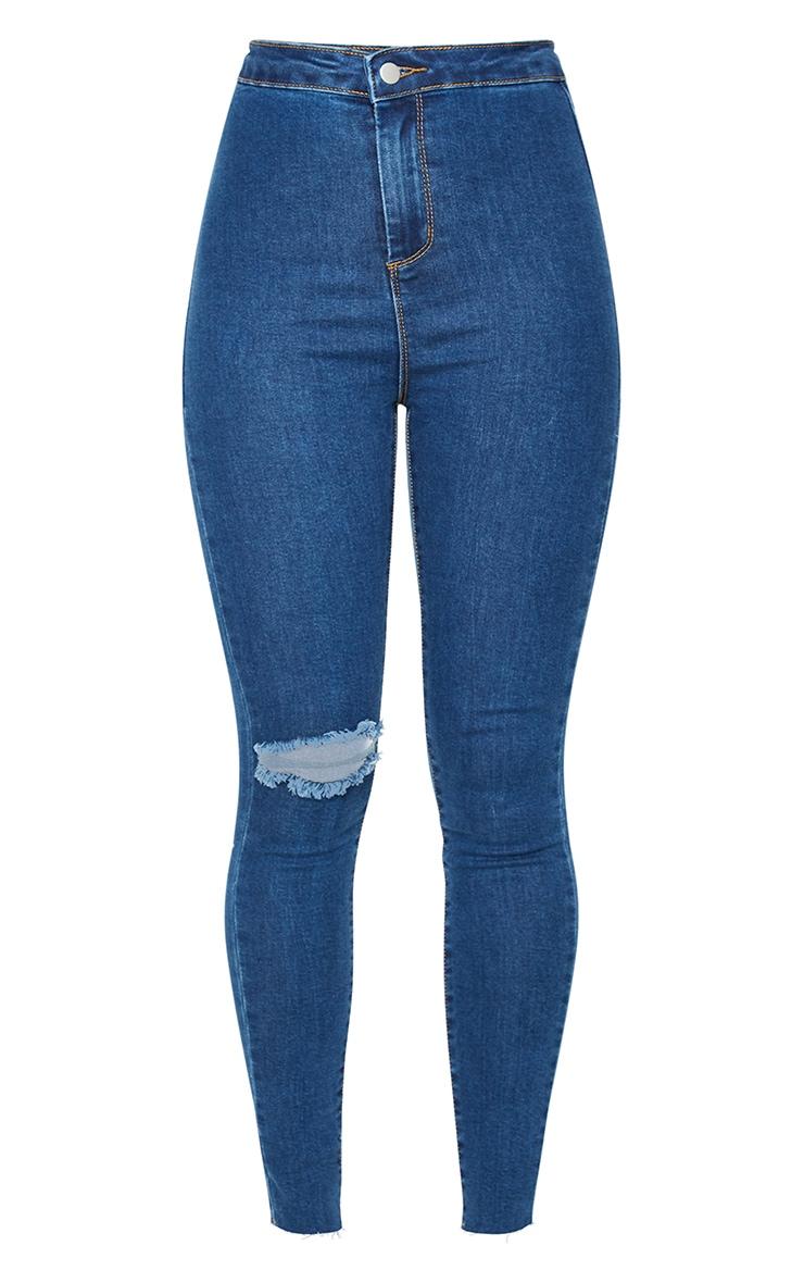 PRETTYLITTLETHING Mid Blue Wash Raw Hem Knee Rip Disco Skinny Jeans 5