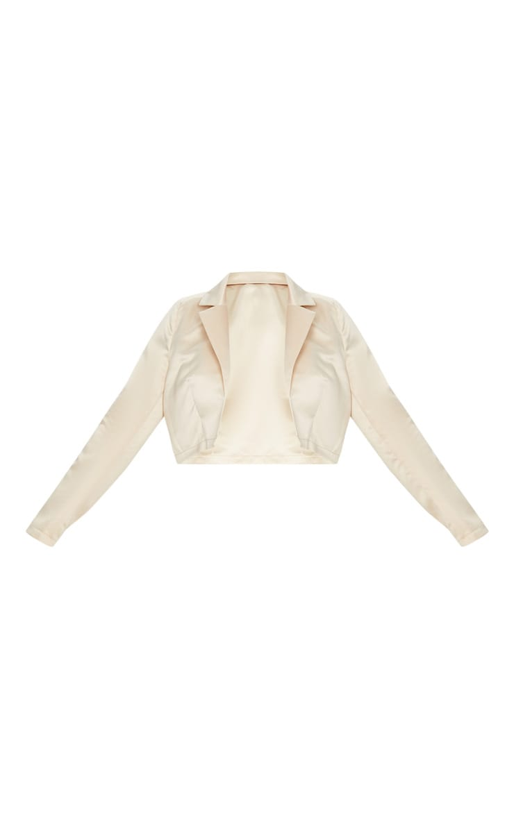 Plus Champagne Cropped Satin Blazer 3