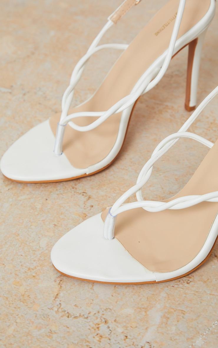 White Toe Thong Twist Strap Heeled Sandals 3