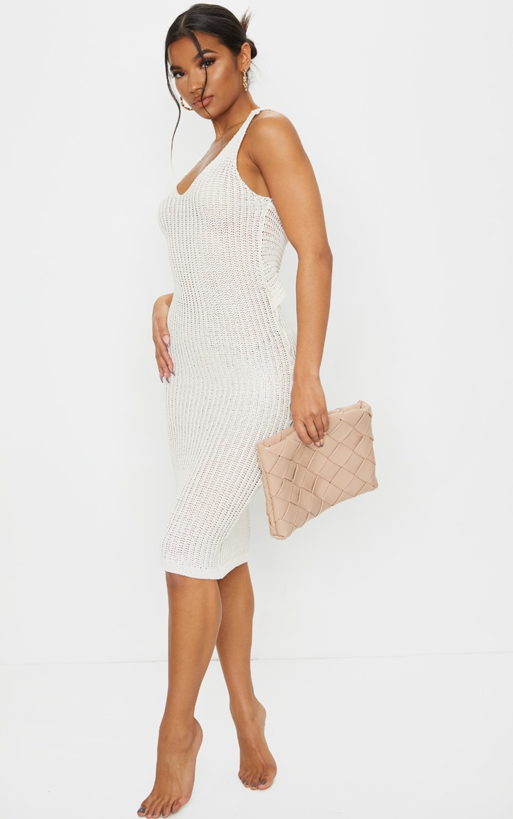 Cream Twist Back V Neck Knitted Midi Dress 3