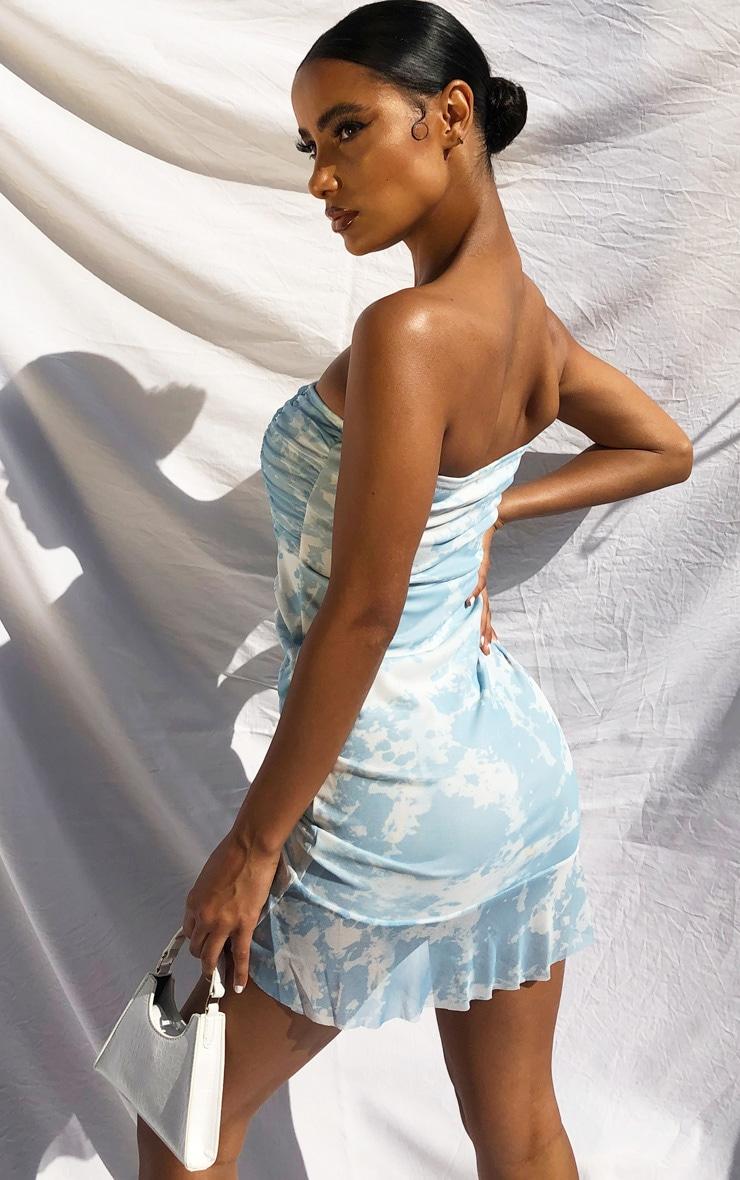 Baby Blue Tie Dye Mesh Ruched Frill Edge Bandeau Bodycon Dress 2