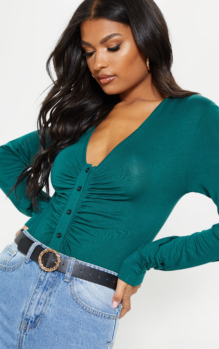 Emerald Jersey Button Front Collar Long Sleeve Bodysuit 6