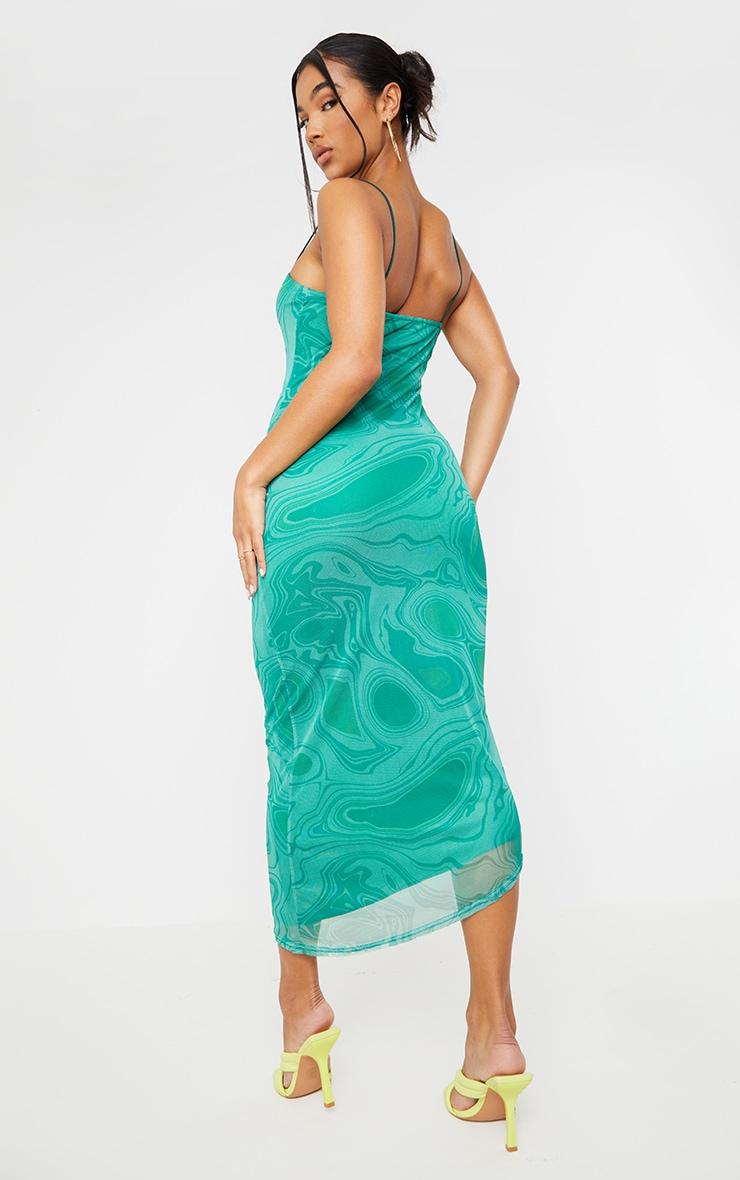 Green Tie Dye Mesh Asymmetric Strappy Midaxi Dress 2