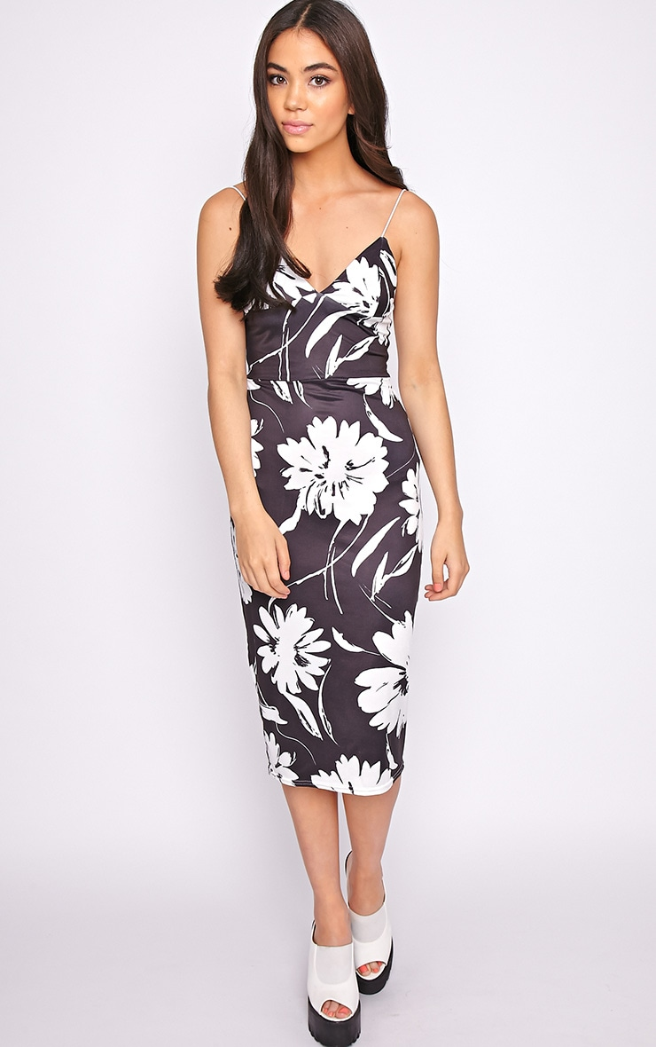 Amaya Monochrome Floral Print Midi Dress 1