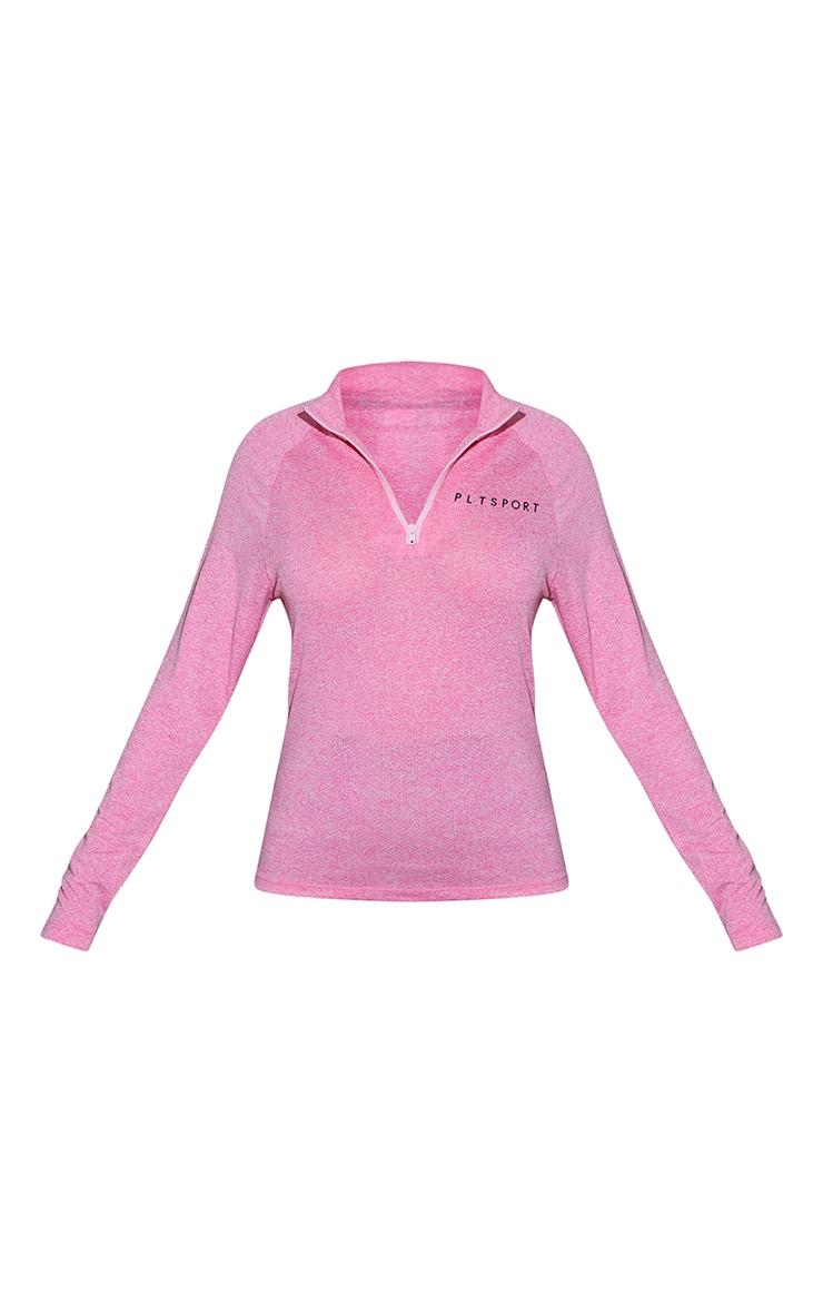 Pink Long Sleeve Airtex Marl Zip Up Jacket 5