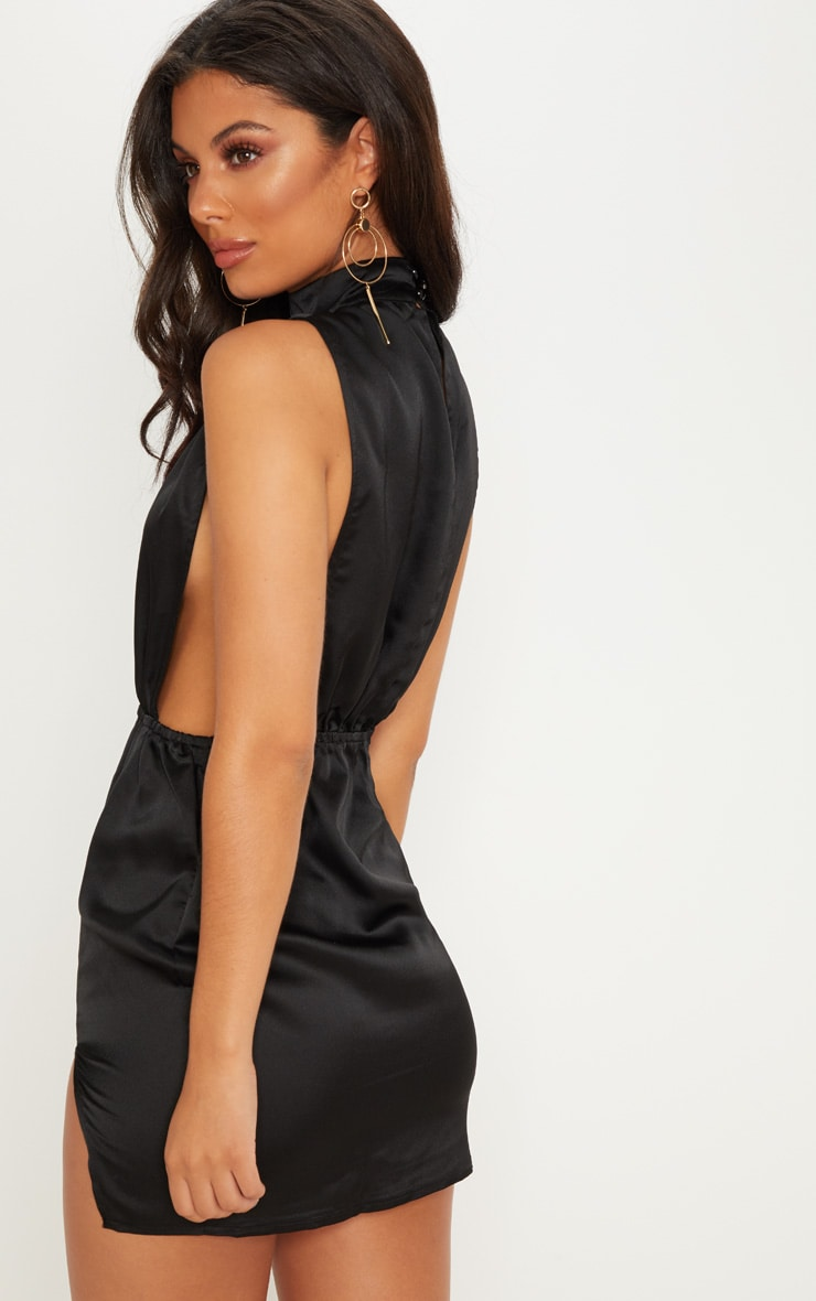 Black Satin High Neck Side Boob Bodycon Dress 2