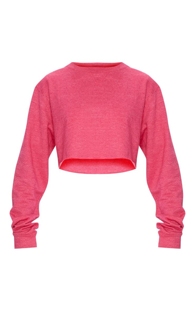 Pink Long Sleeve Crop Sweater  3