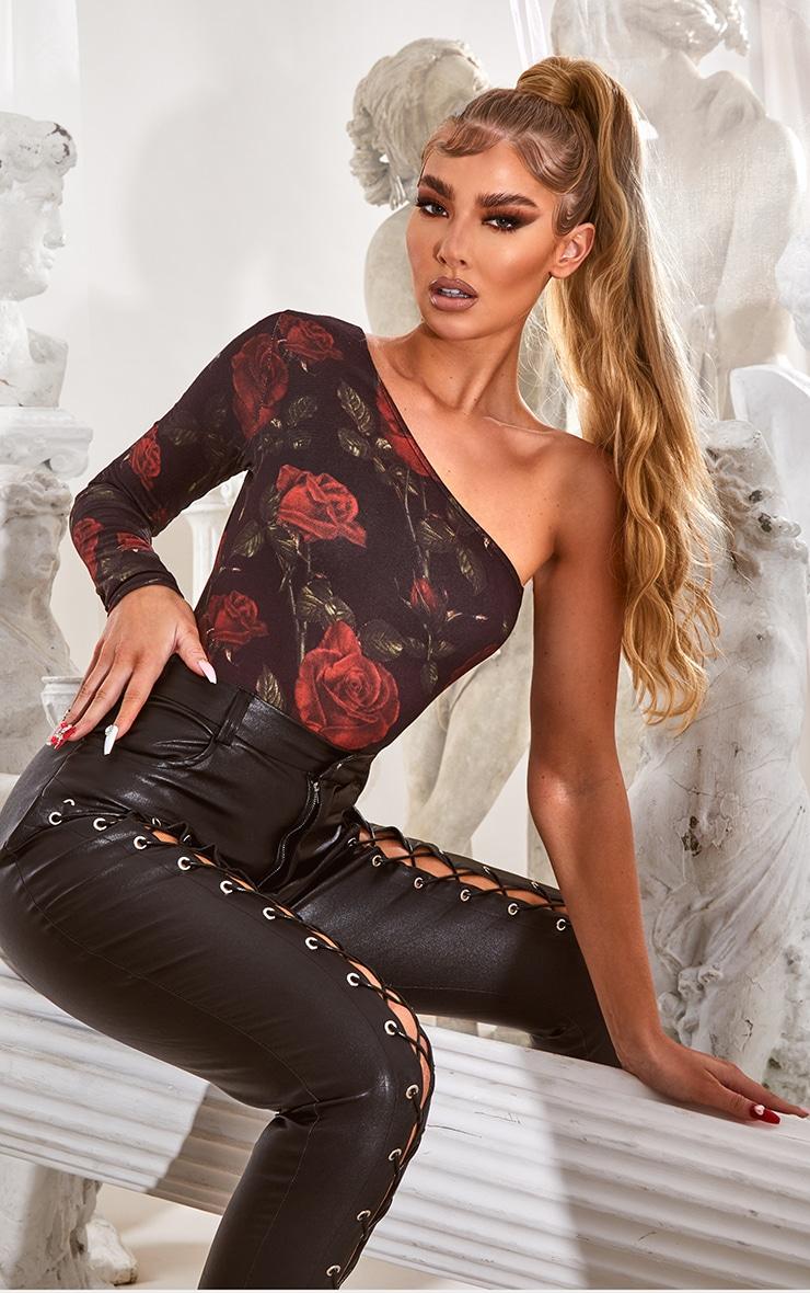 Body à manche longue unique et imprimé floral noir 1