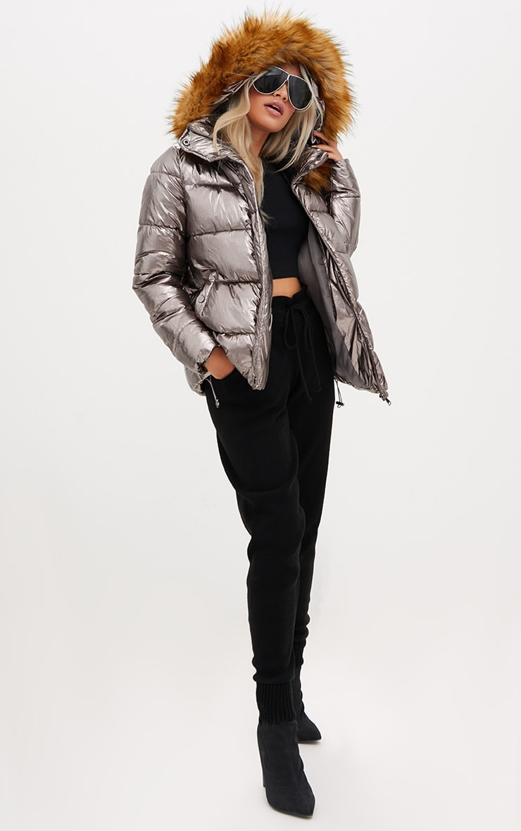 Gunmetal Foil Puffer Jacket With Faux Fur Hood 4
