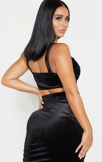 Shape Black Velvet Strappy Ruched Front Crop Top