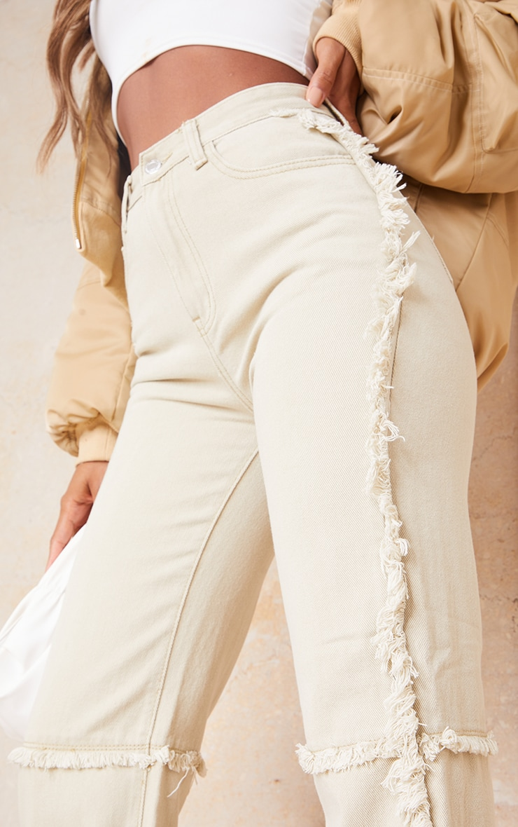 Washed Stone Wide Leg Seam Detail Jeans 4