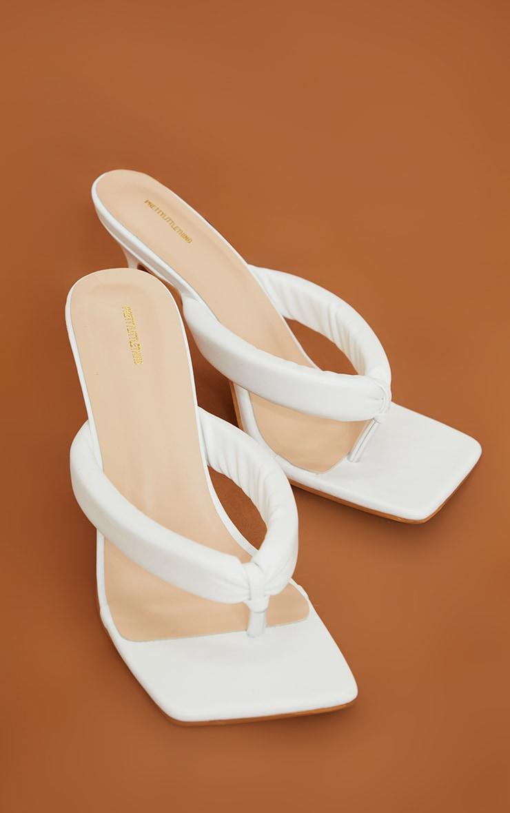 White Pu Tube Strap Toe Thong Mid Heel 3