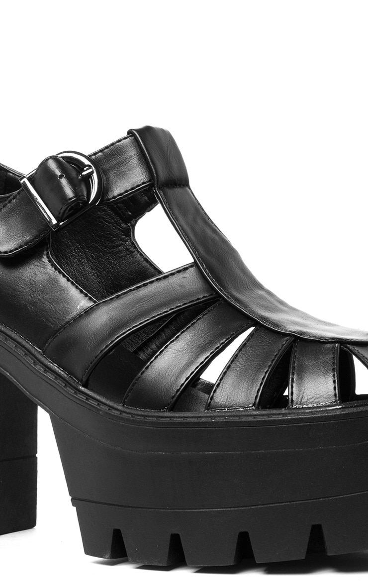 Jamiya Black Cut Out Heeled Sandals  4
